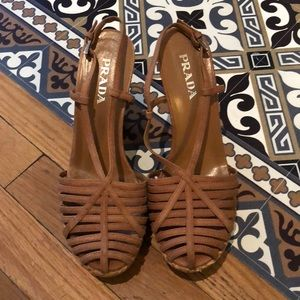 Prada strappy wedges. Barely been worn.